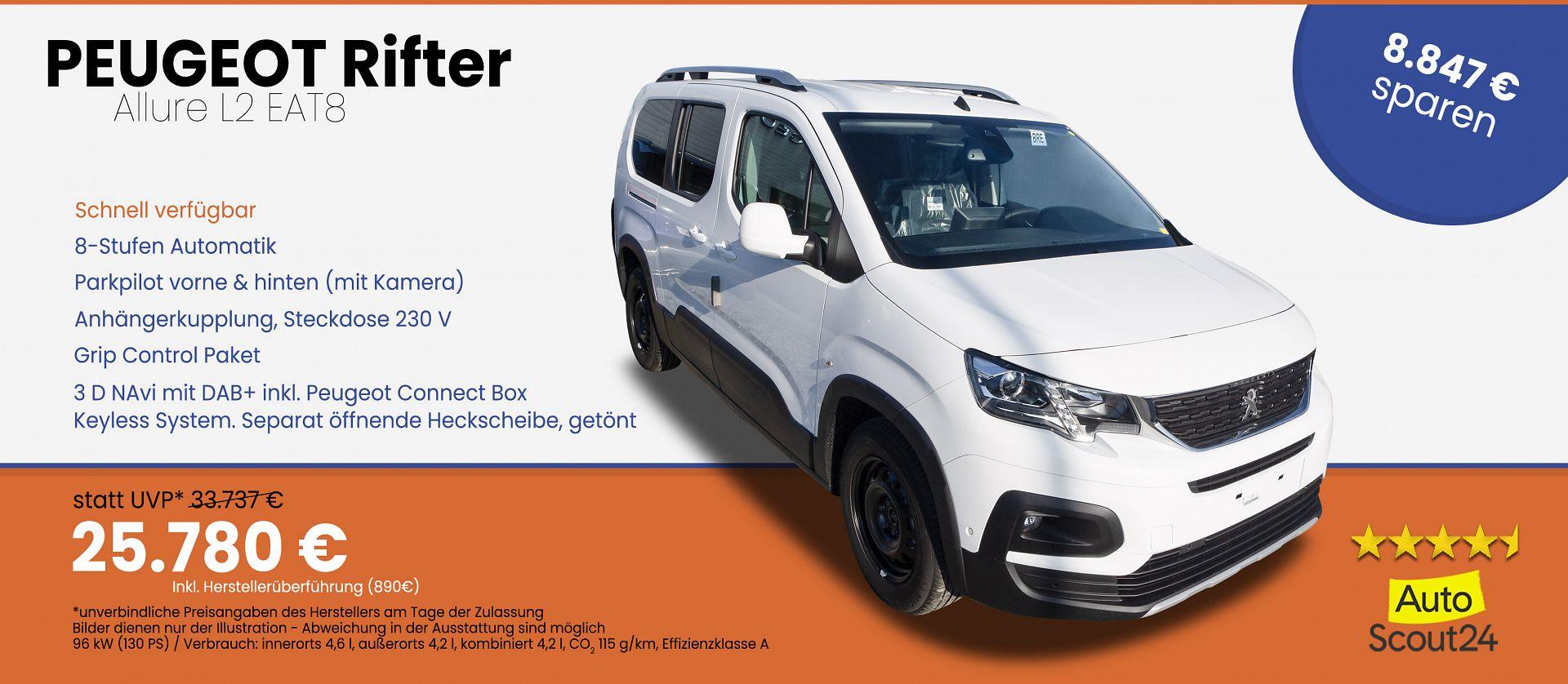 Peugeot Rifter Allure L2 BlueHDI 130 EAT8 Automatik